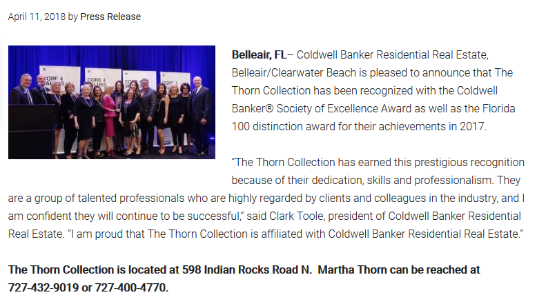 The Thorn Collection Receives Coldwell Banker Society of Excellence Award